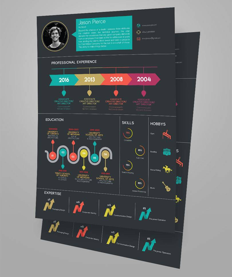 Resume Infographic Template Psd
