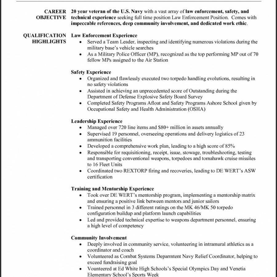 Resume Objective Examples For Law Enforcement