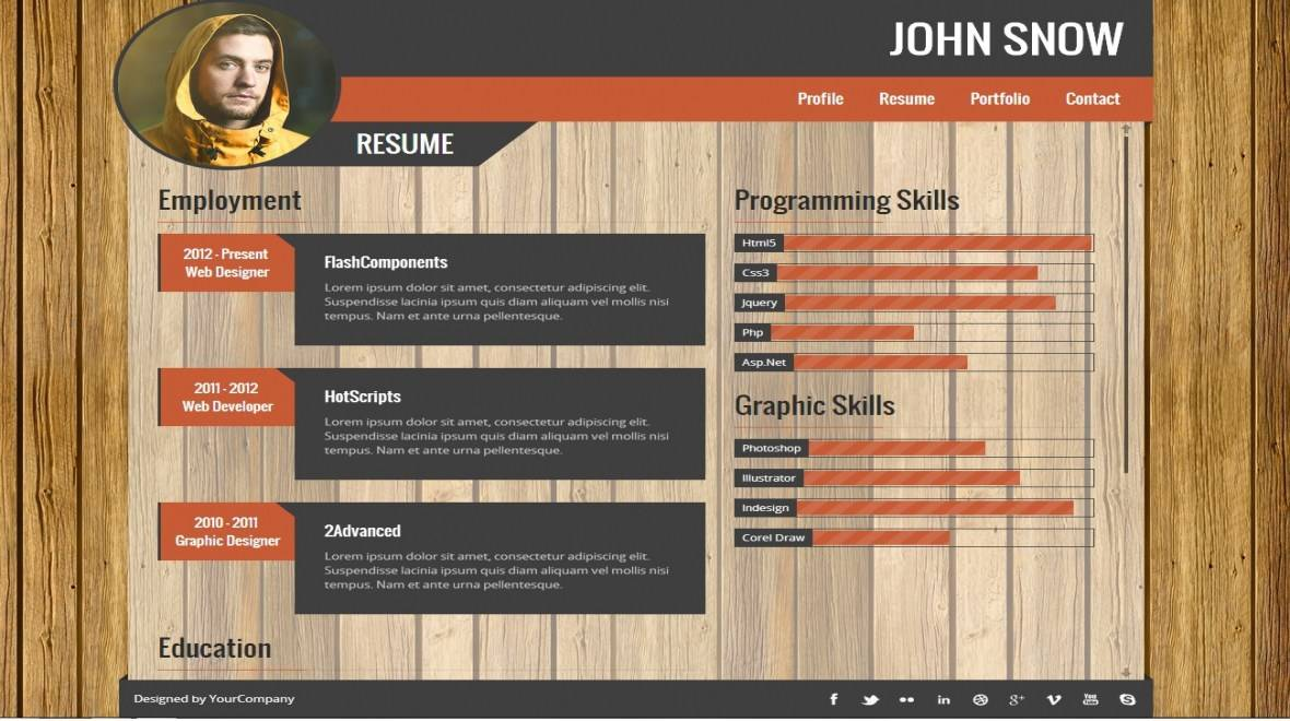 Resume Portfolio Template Free Download