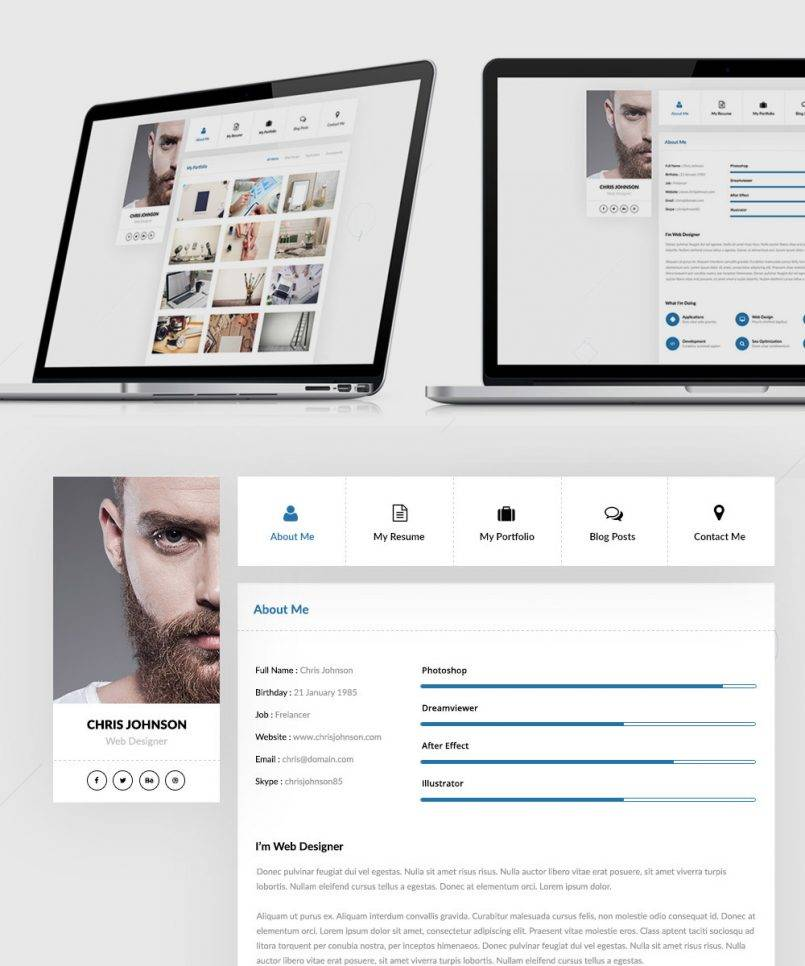 Resume Psd Templates Free Download