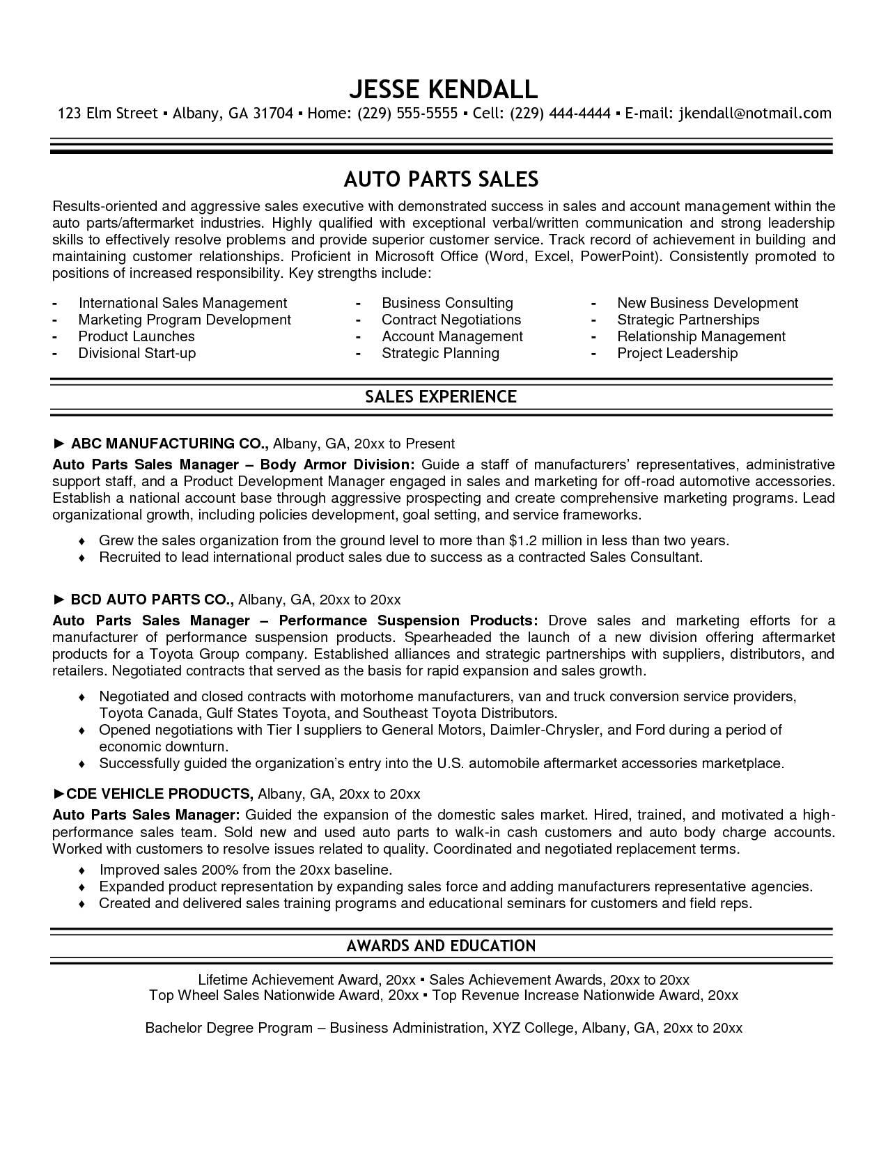 Resume Template Automotive Sales