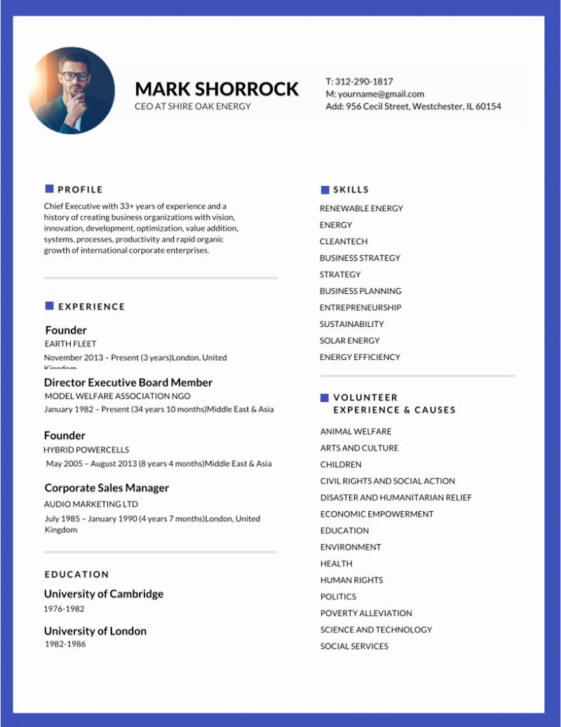 Resume Template Editable