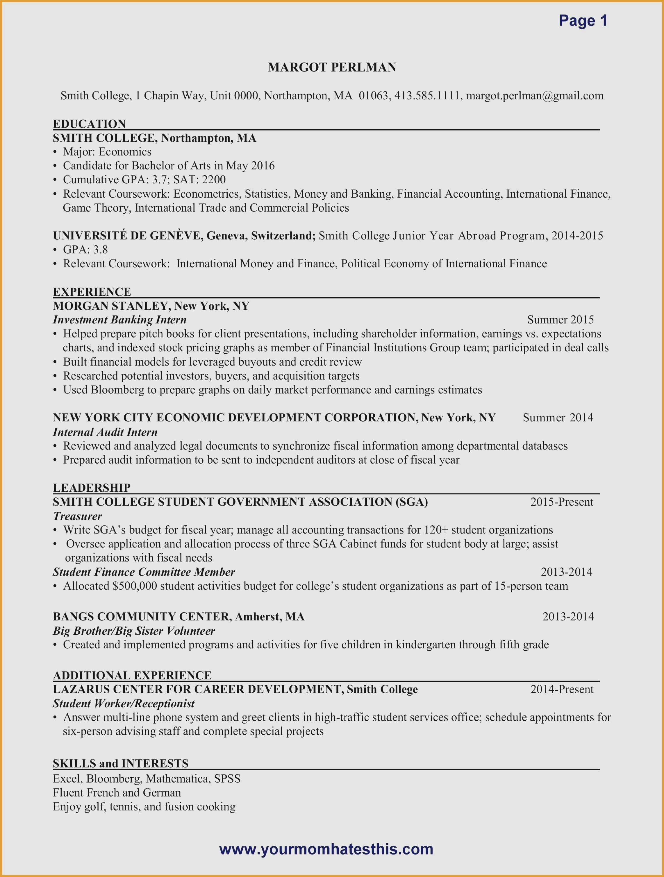 Resume Template Financial Accountant