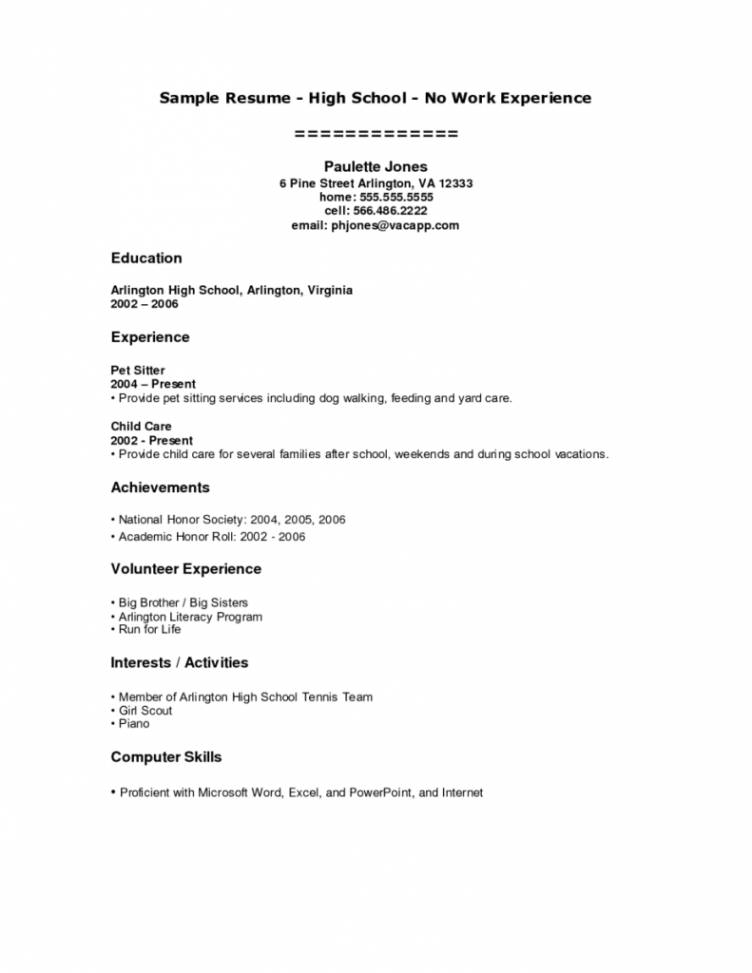 Resume Template For A Teenager With No Work Experience