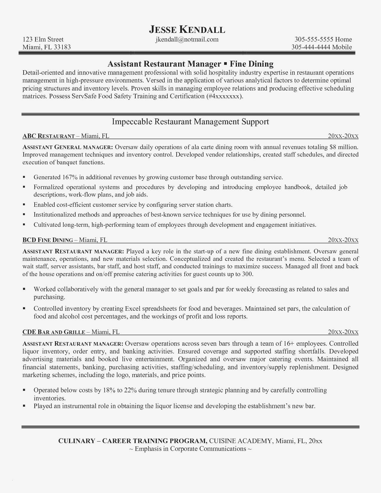 Resume Template For Assistant Restaurant Manager