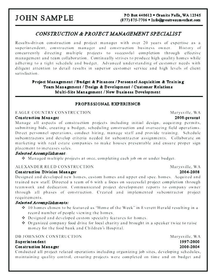 Resume Template For Civil Construction