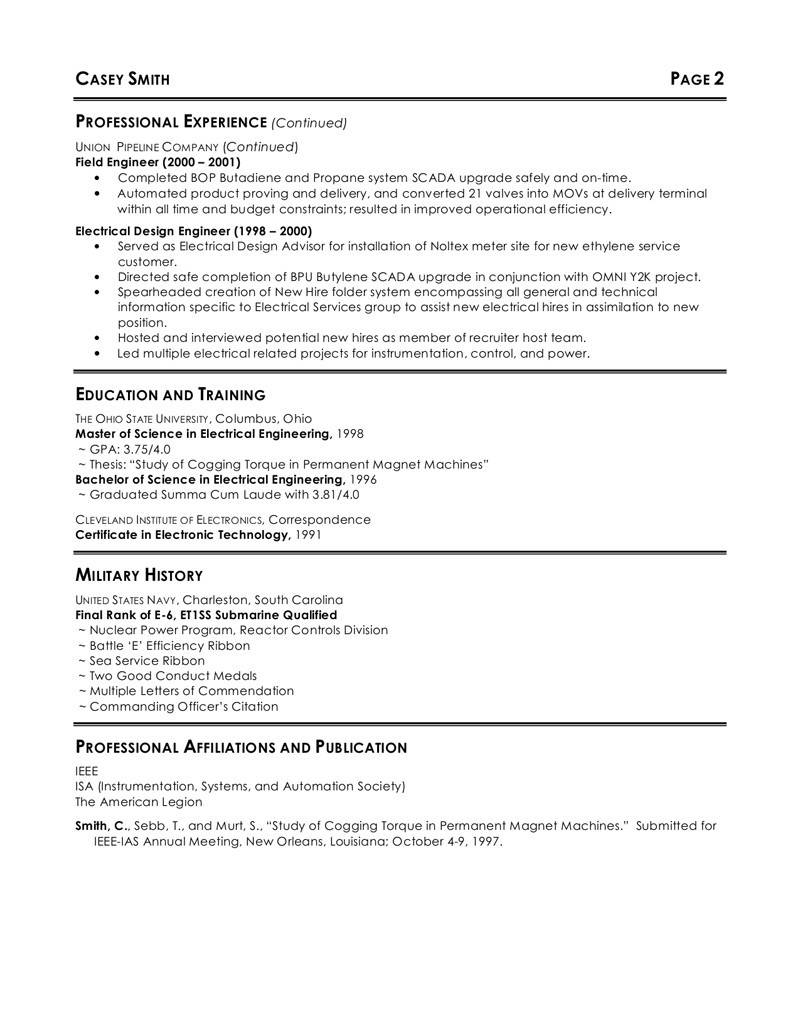 Resume Template For Construction Engineer