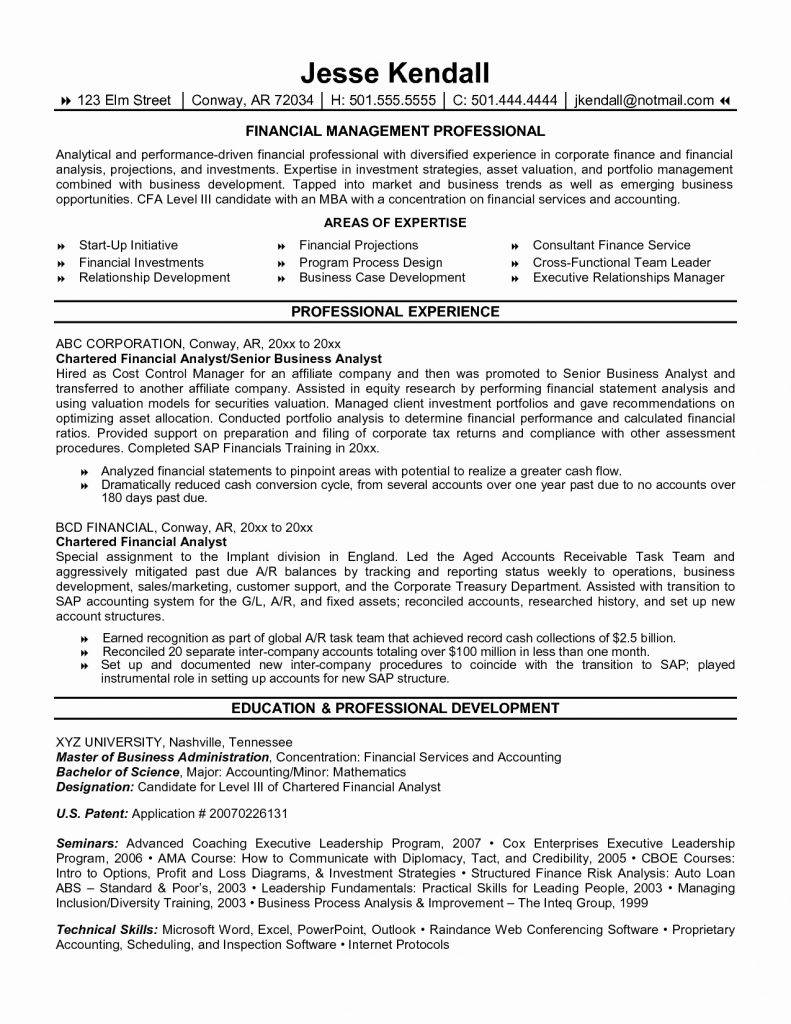 Resume Template For Financial Analyst