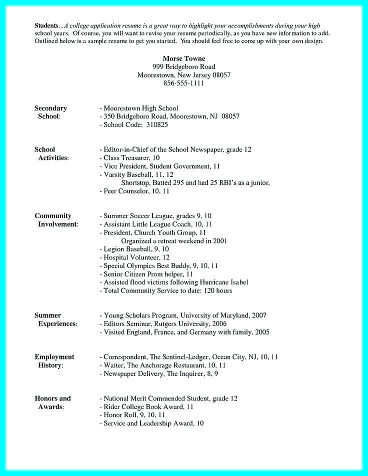 Resume Template For Highschool Students Pdf