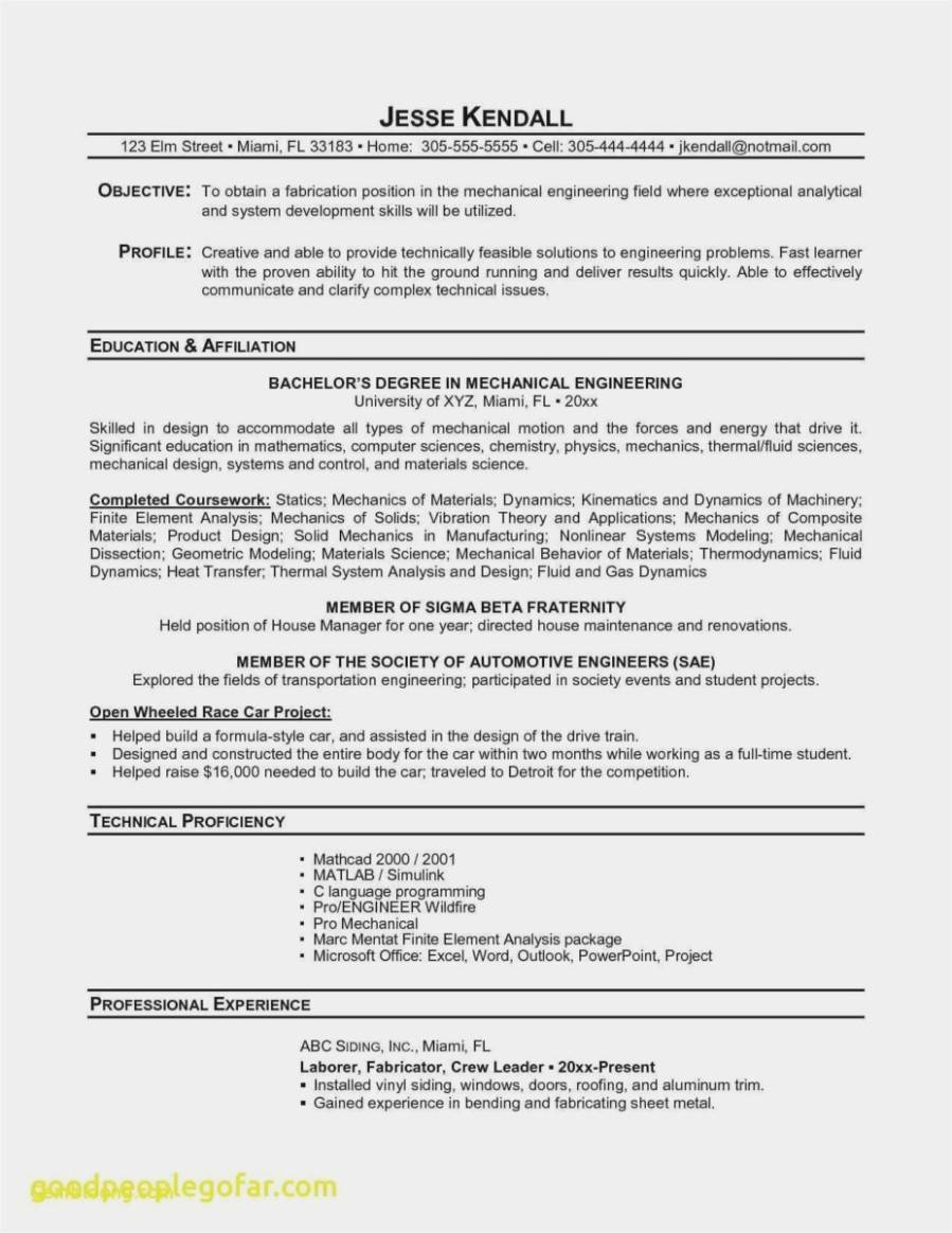Resume Template For Internship Engineering