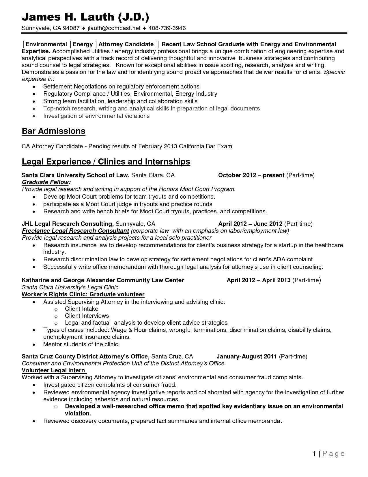 Resume Template For Law Students