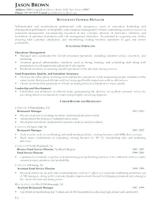 Resume Template For Restaurant General Manager