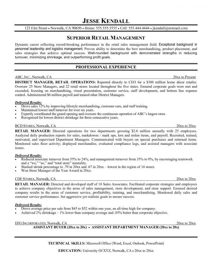 Resume Template For Retail Manager