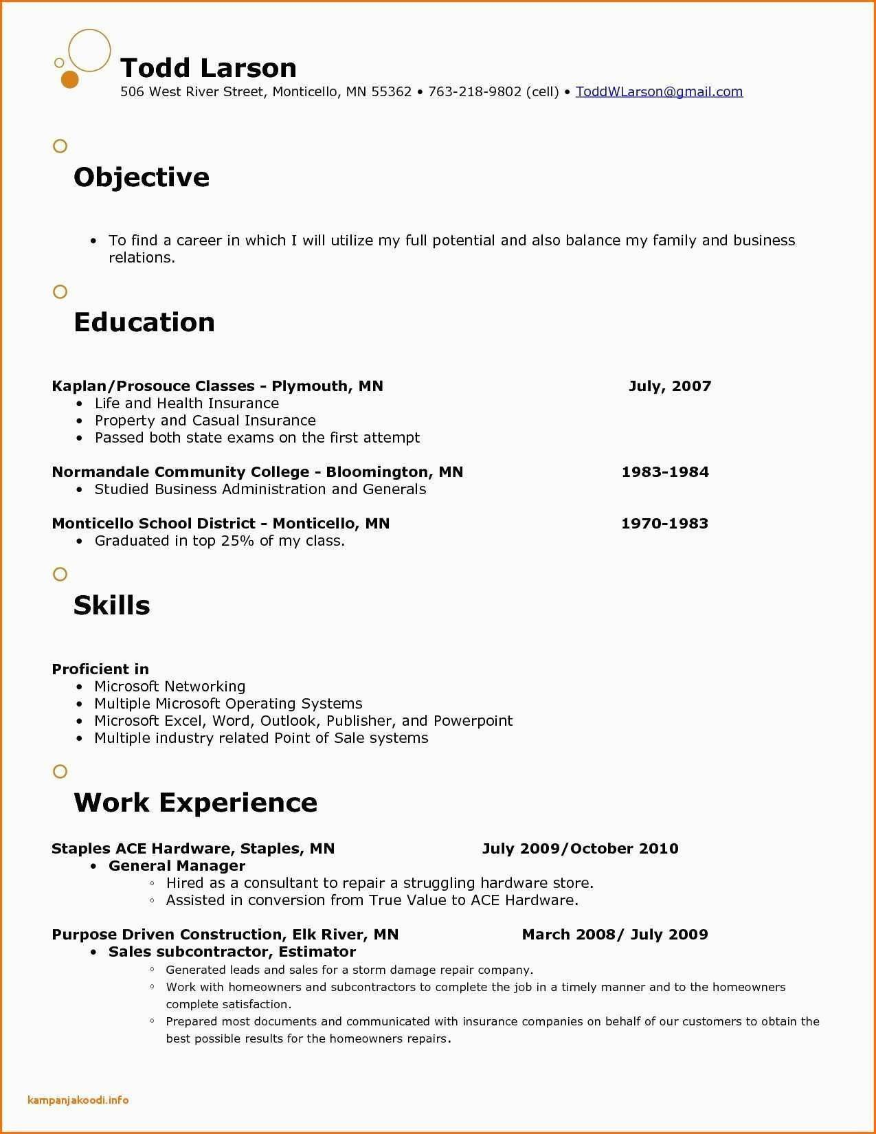 Resume Template For Retail Store Manager