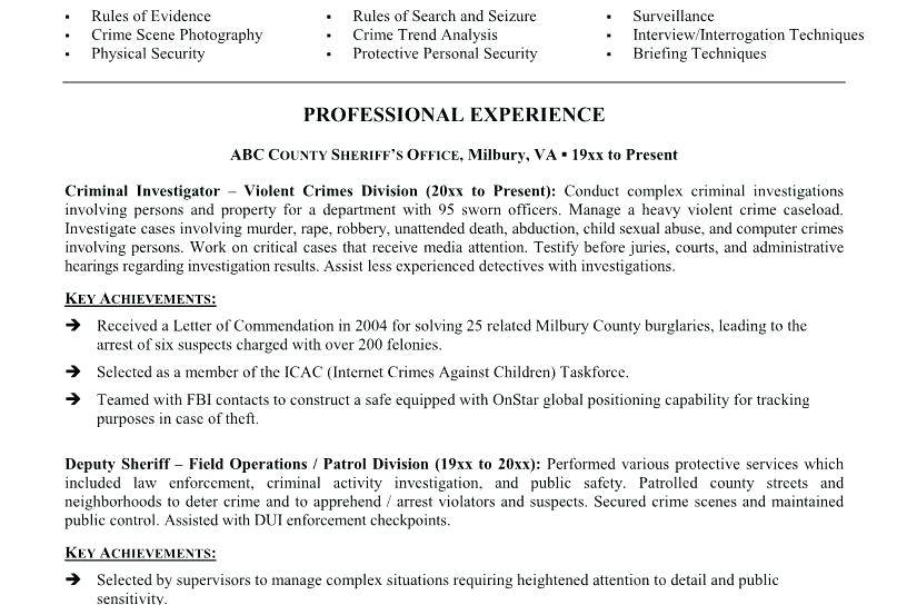 Resume Template For Retired Law Enforcement