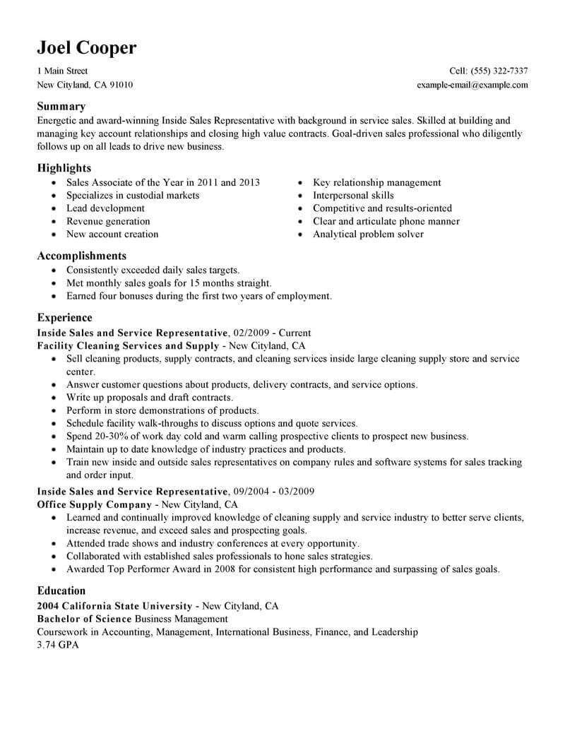 Resume Template For Sales Representative