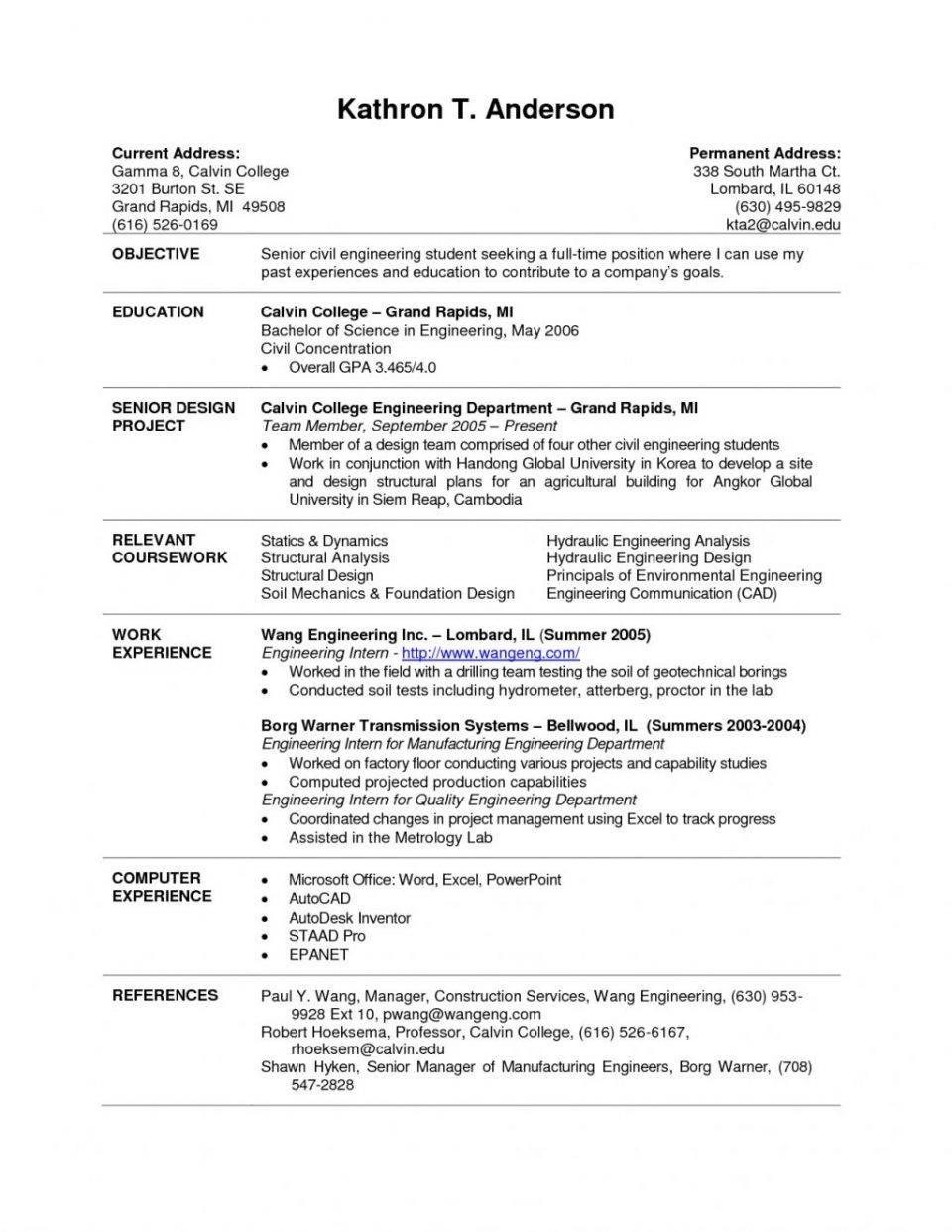 Resume Template For Undergraduate College Student