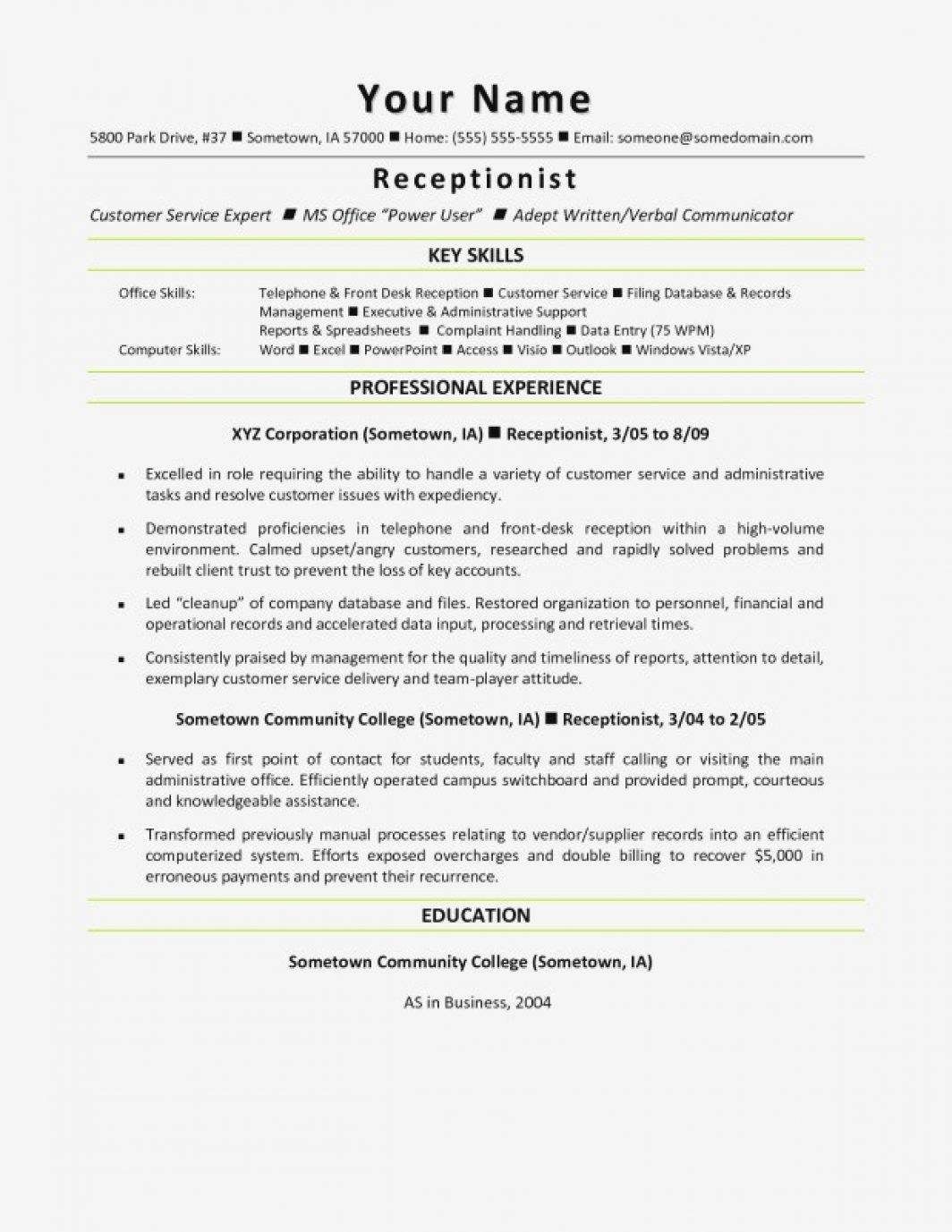 Resume Template For Veterinary Receptionist