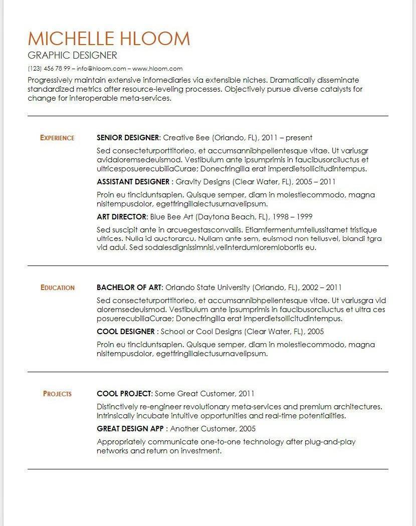 Resume Template Google Docs Free Download