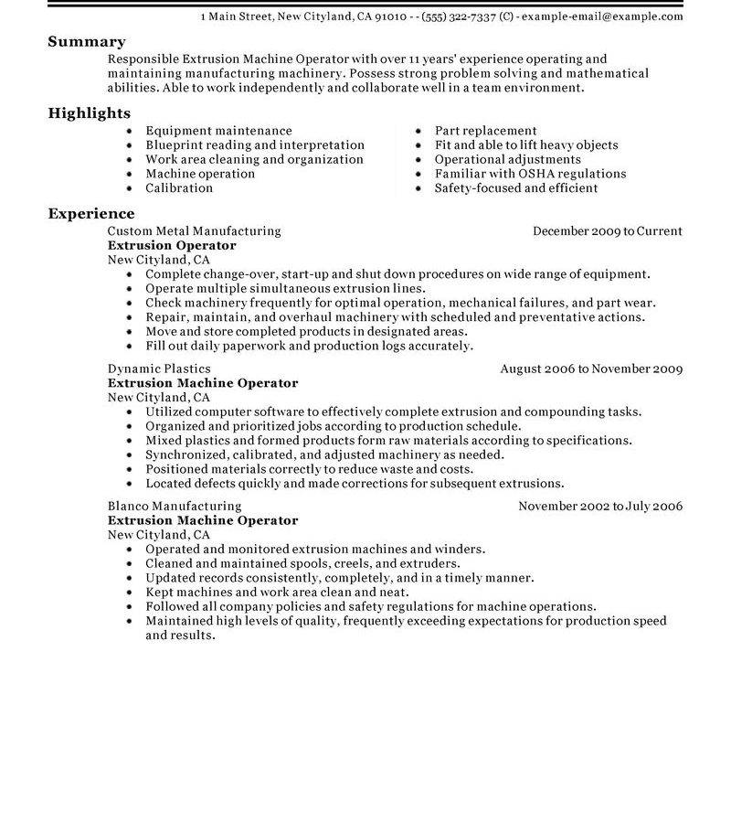 Resume Template Machinist