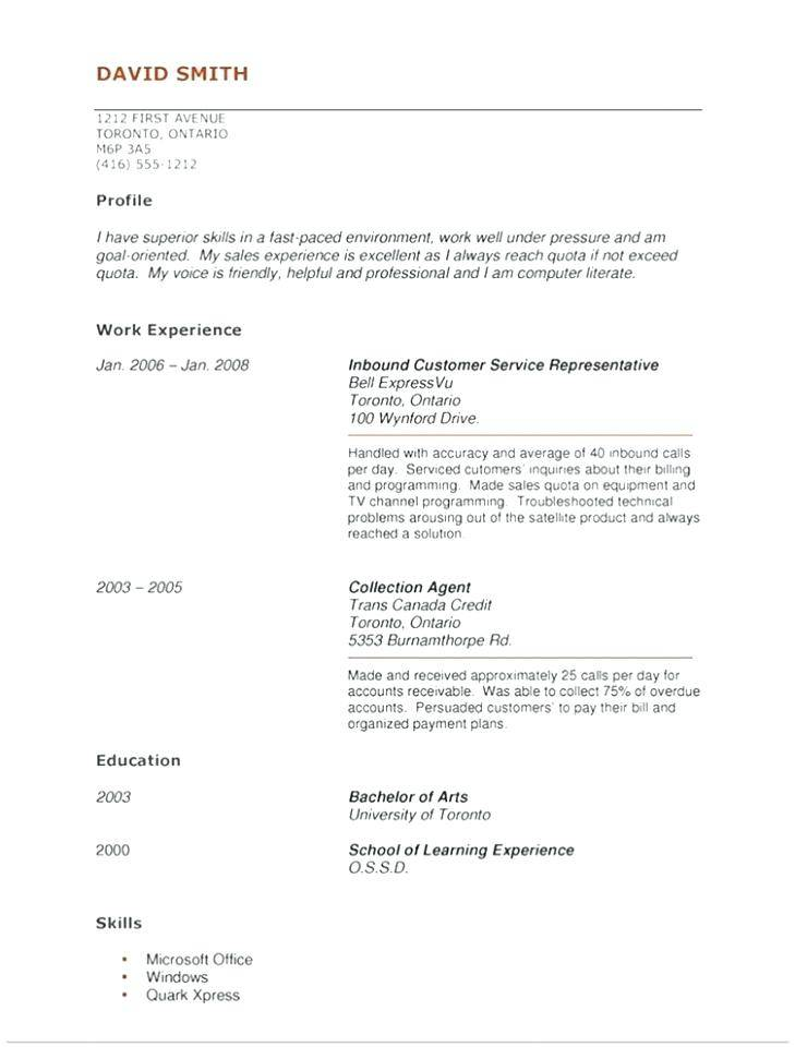 Resume Template No Experience Download