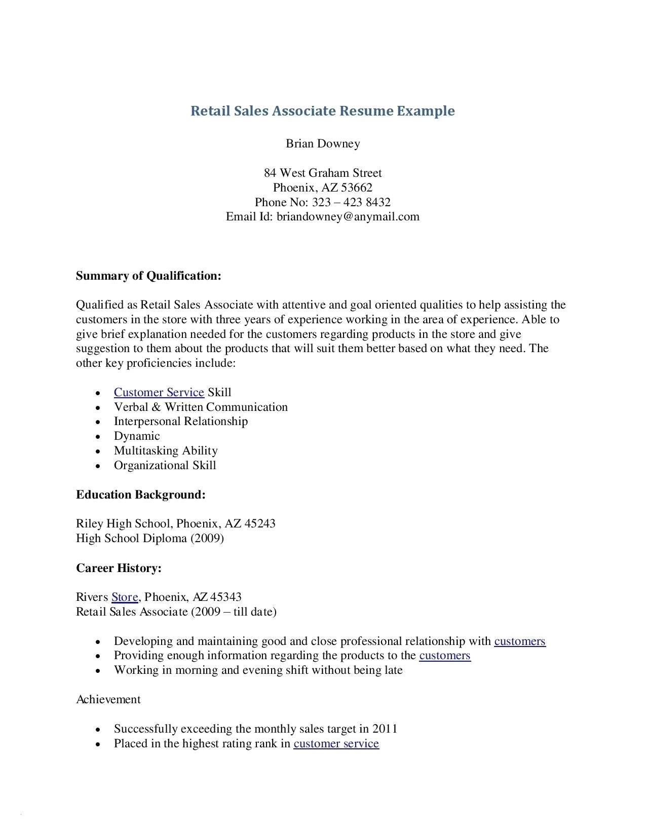 Resume Template No Experience Retail