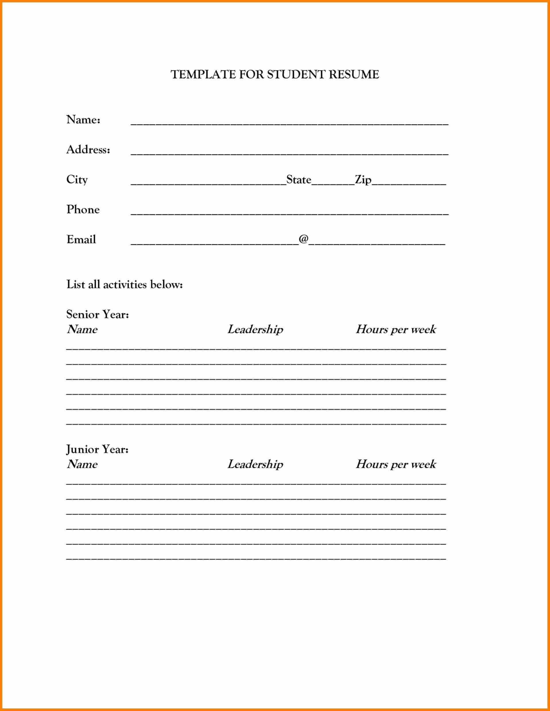Resume Template Printable Blank