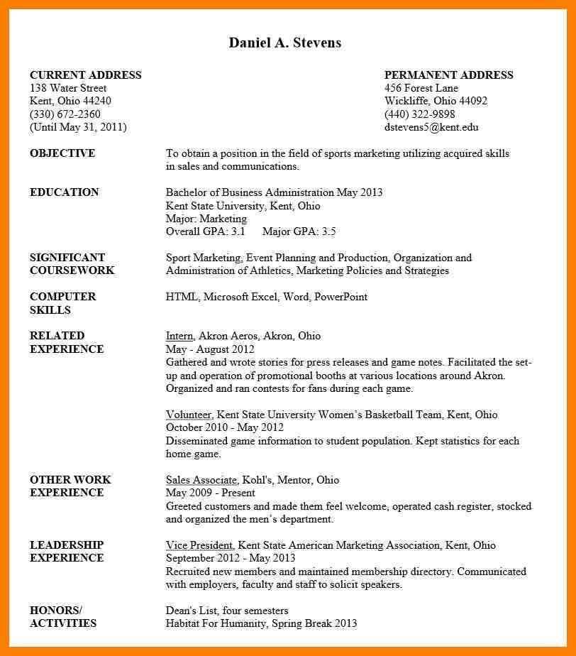 Resume Template Undergraduate