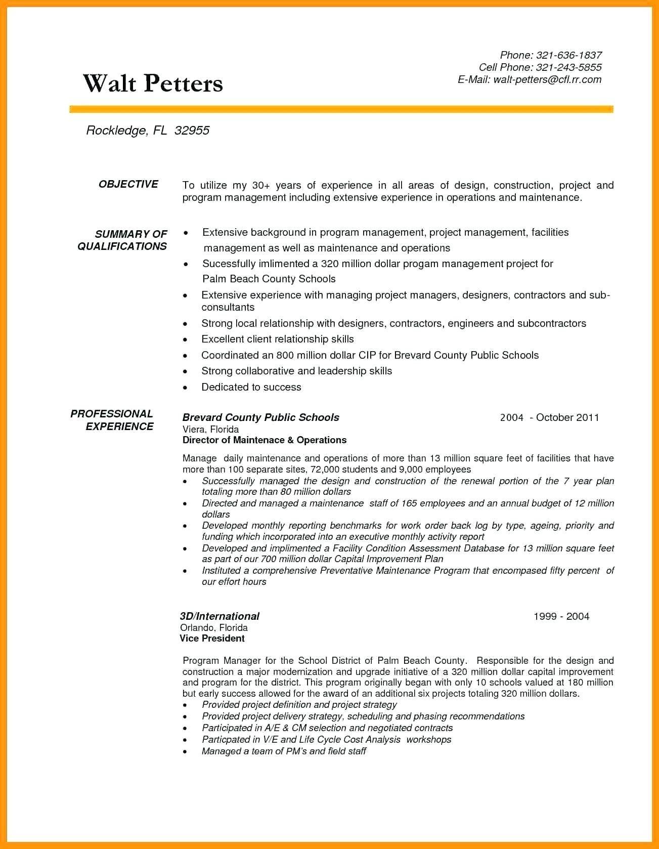 Resume Templates Construction Project Manager