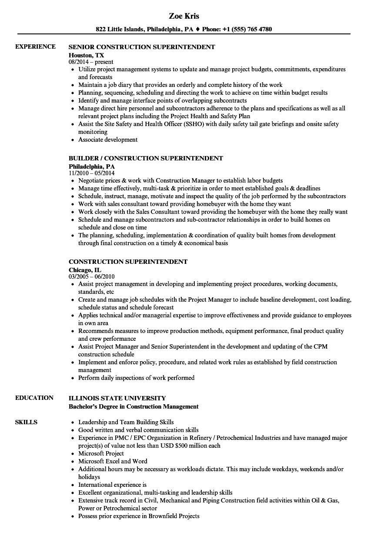 Resume Templates Construction Superintendent