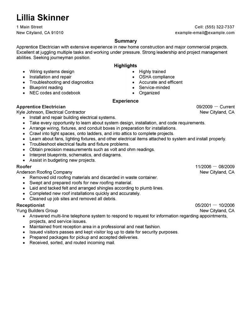 Resume Templates Construction