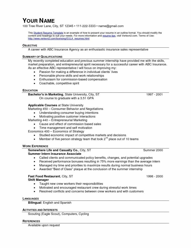 Resume Templates Fast Food Crew Member