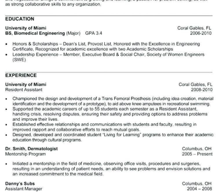 Resume Templates For Biomedical Engineers