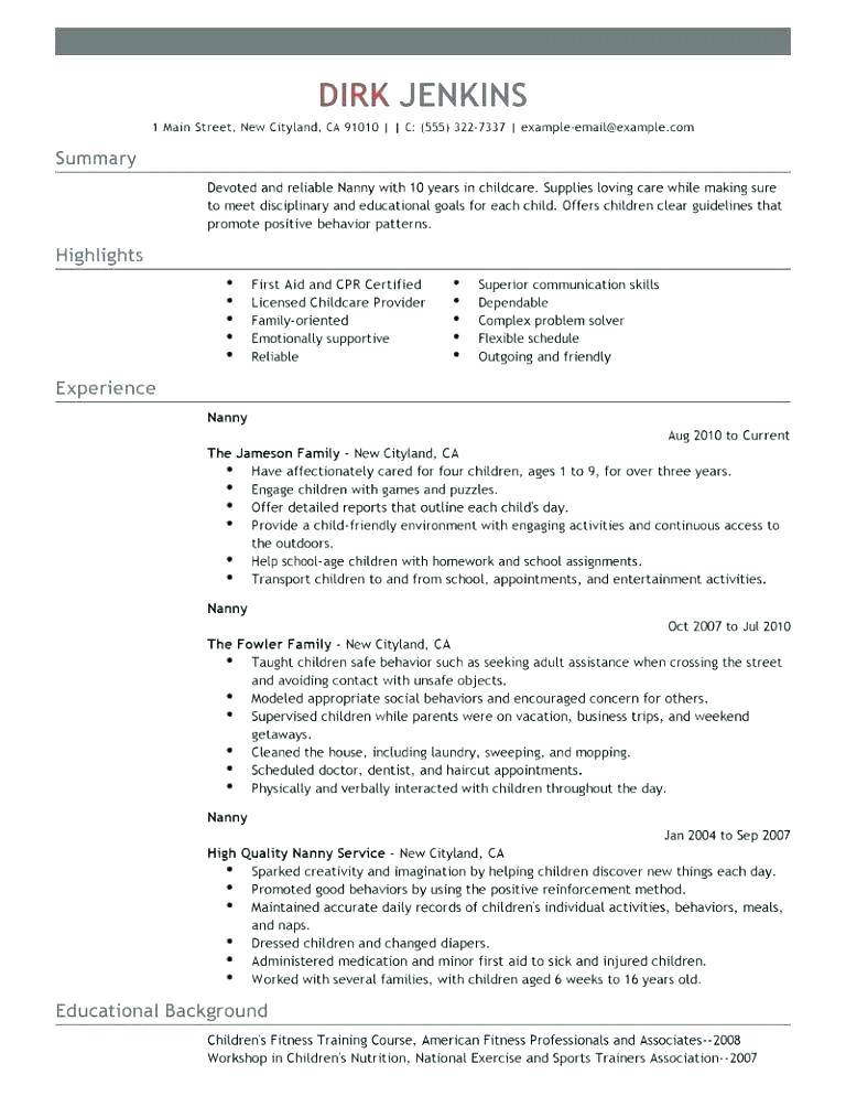 Resume Templates For Child Care Worker
