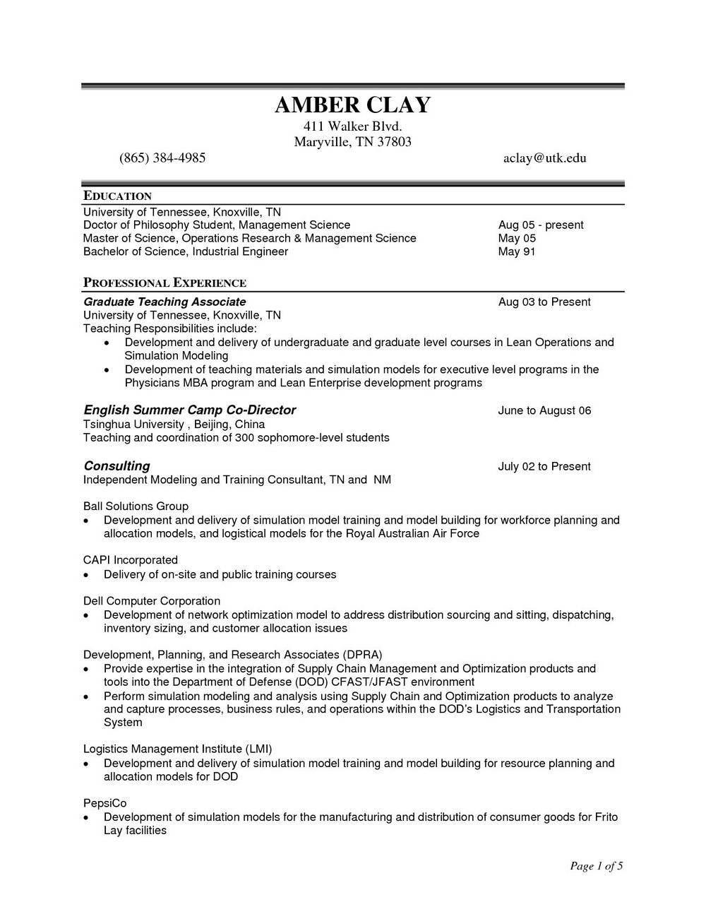 Resume Templates For Construction Management