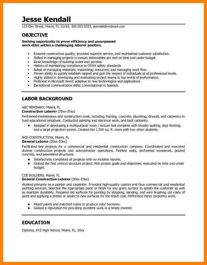 Resume Templates For Construction