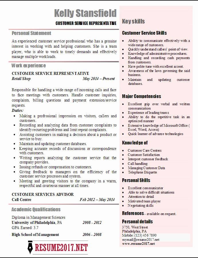 Resume Templates For Customer Service Representatives