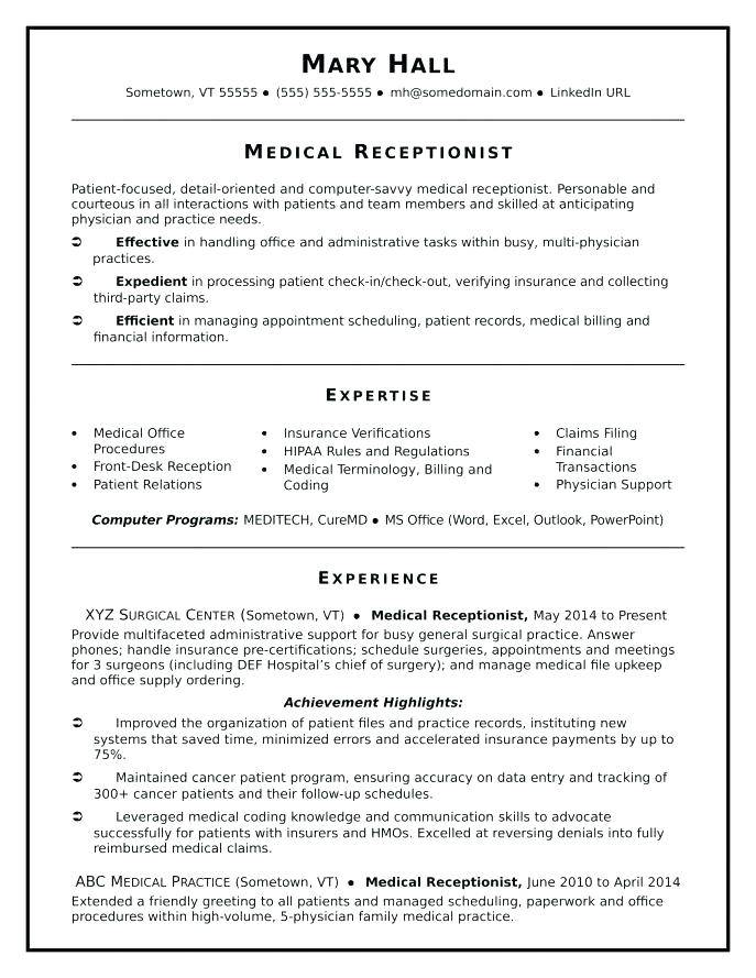 Resume Templates For Dental Receptionist