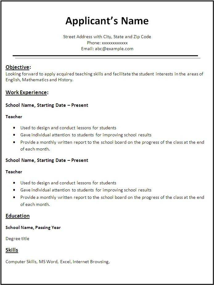 Resume Templates For English Teachers