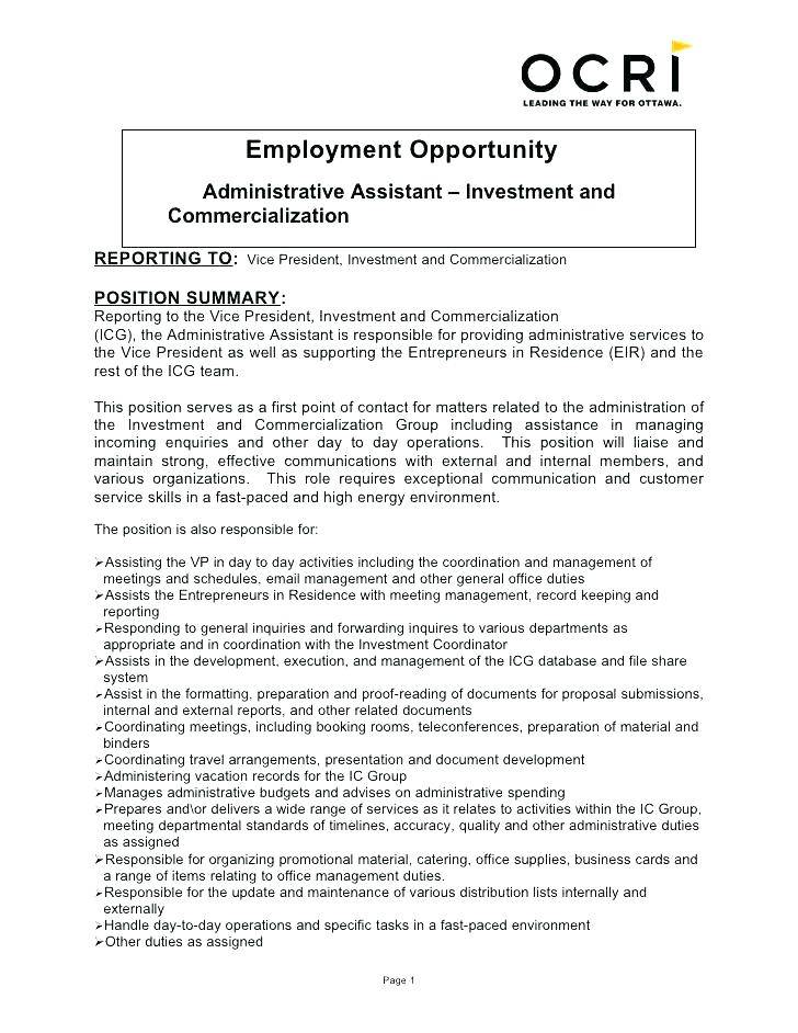 Resume Templates For Executive Assistants