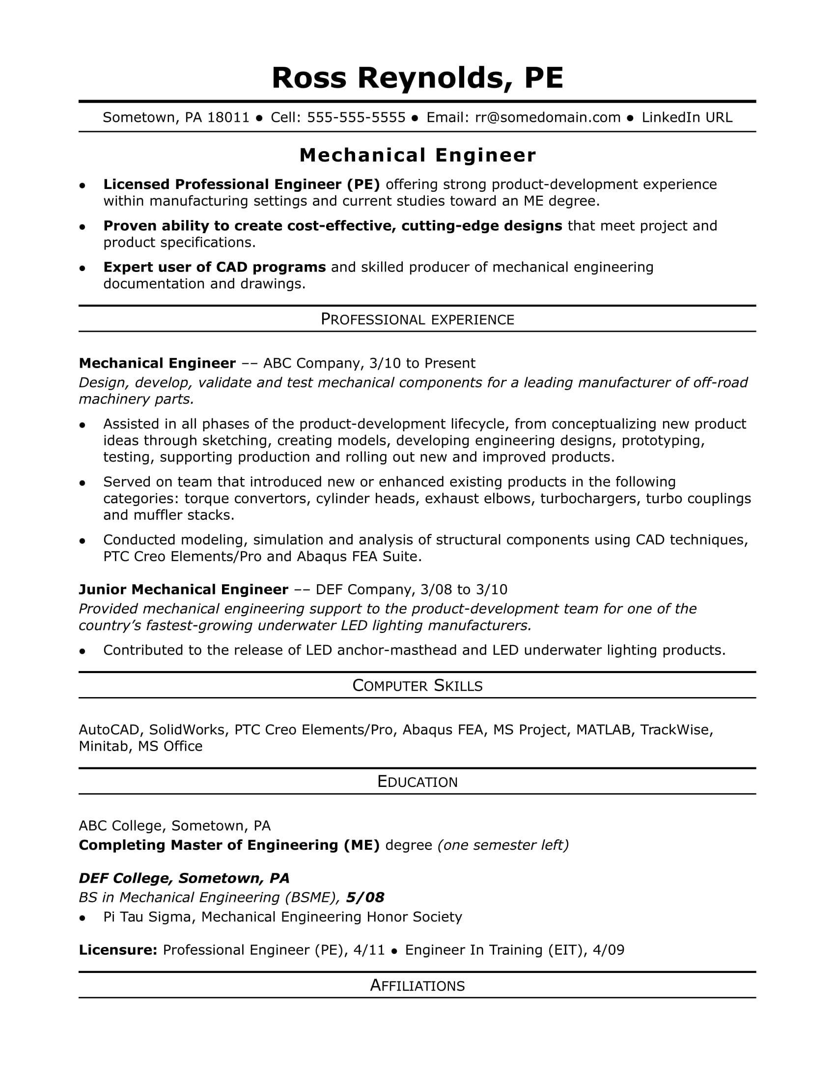 Resume Templates For Experienced Engineers