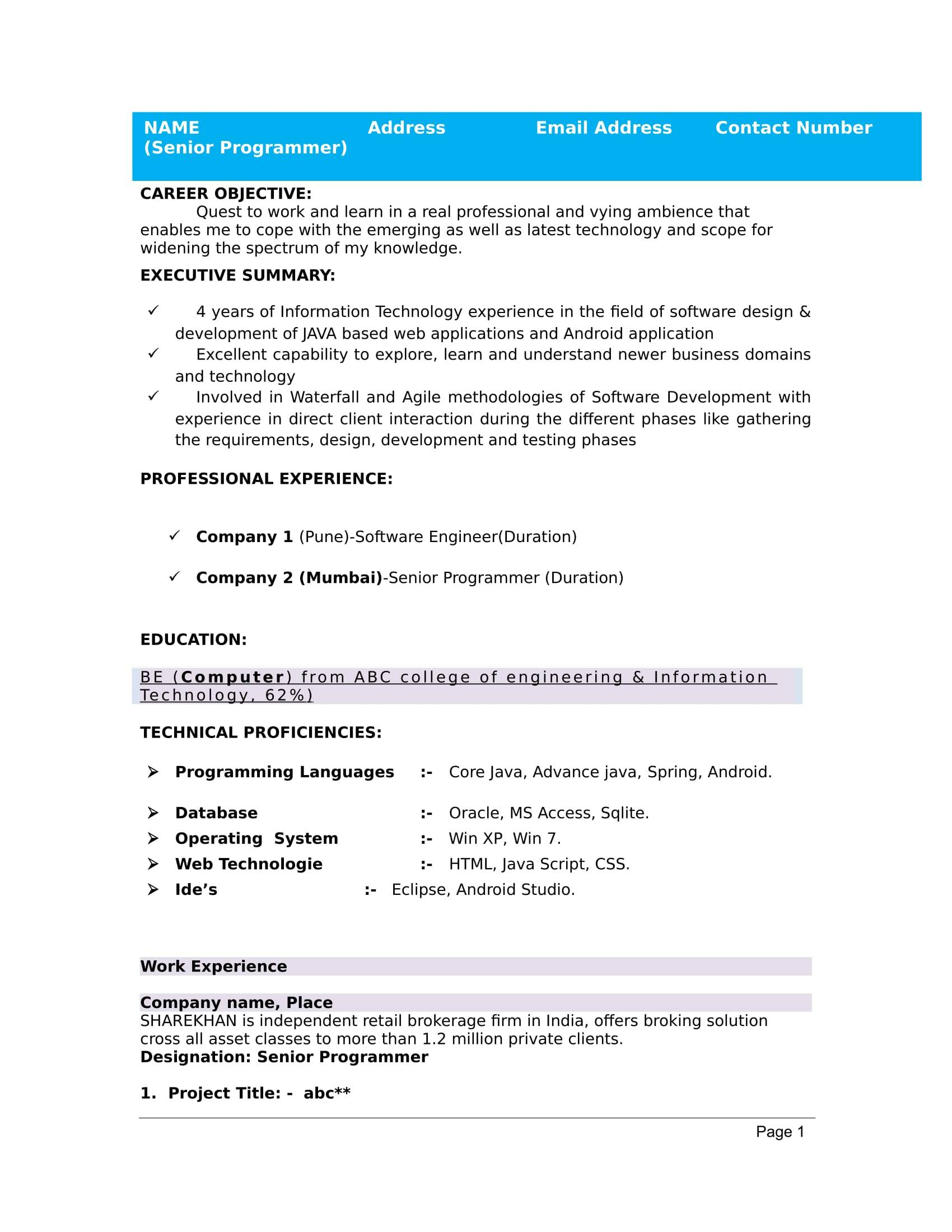 Resume Templates For Freshers Free Download