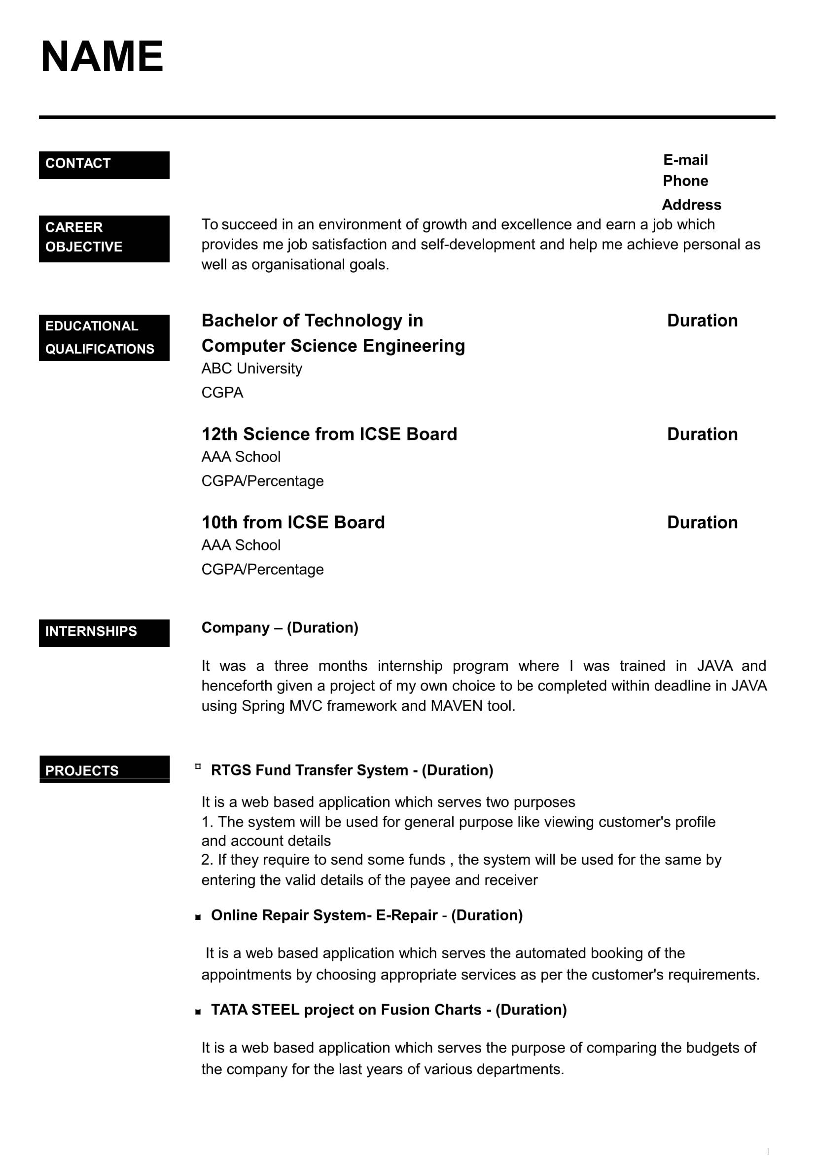 Resume Templates For Freshers Free