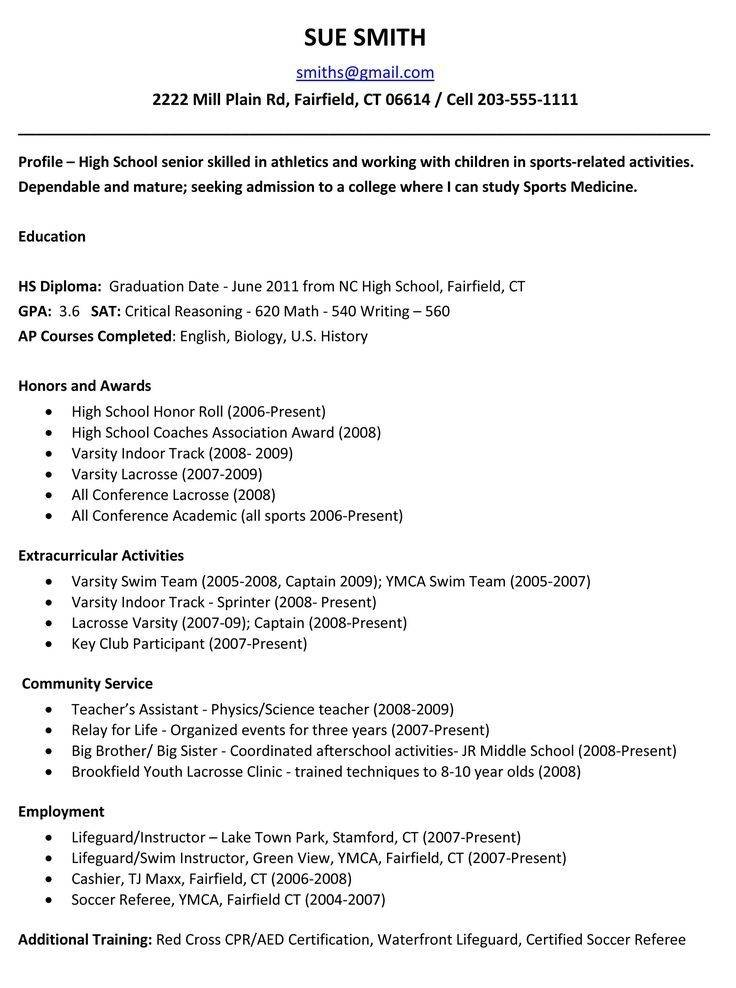 Resume Templates For High School Seniors