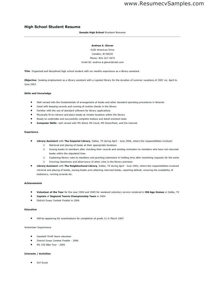 Resume Templates For High Schoolers