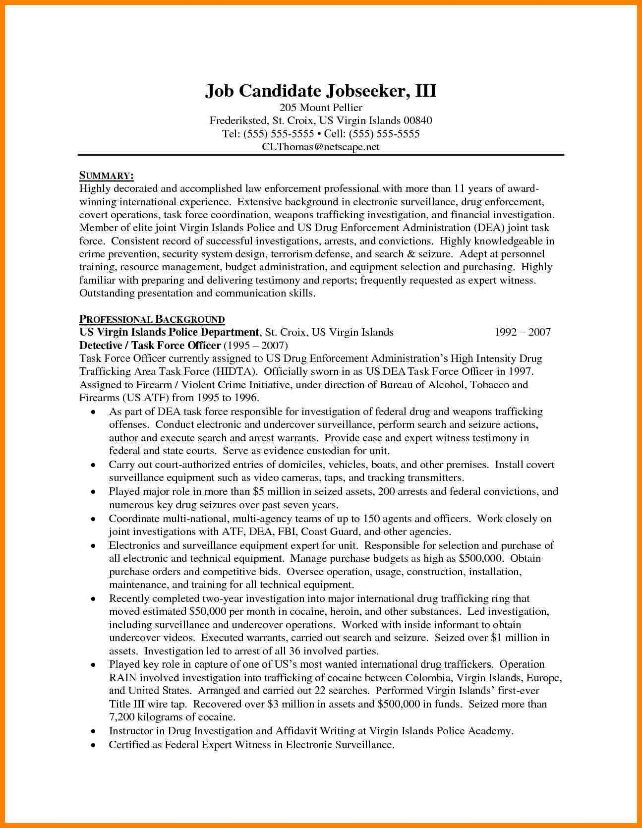 Resume Templates For Law Enforcement