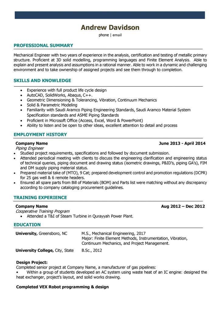 Resume Templates For Mechanical Engineers