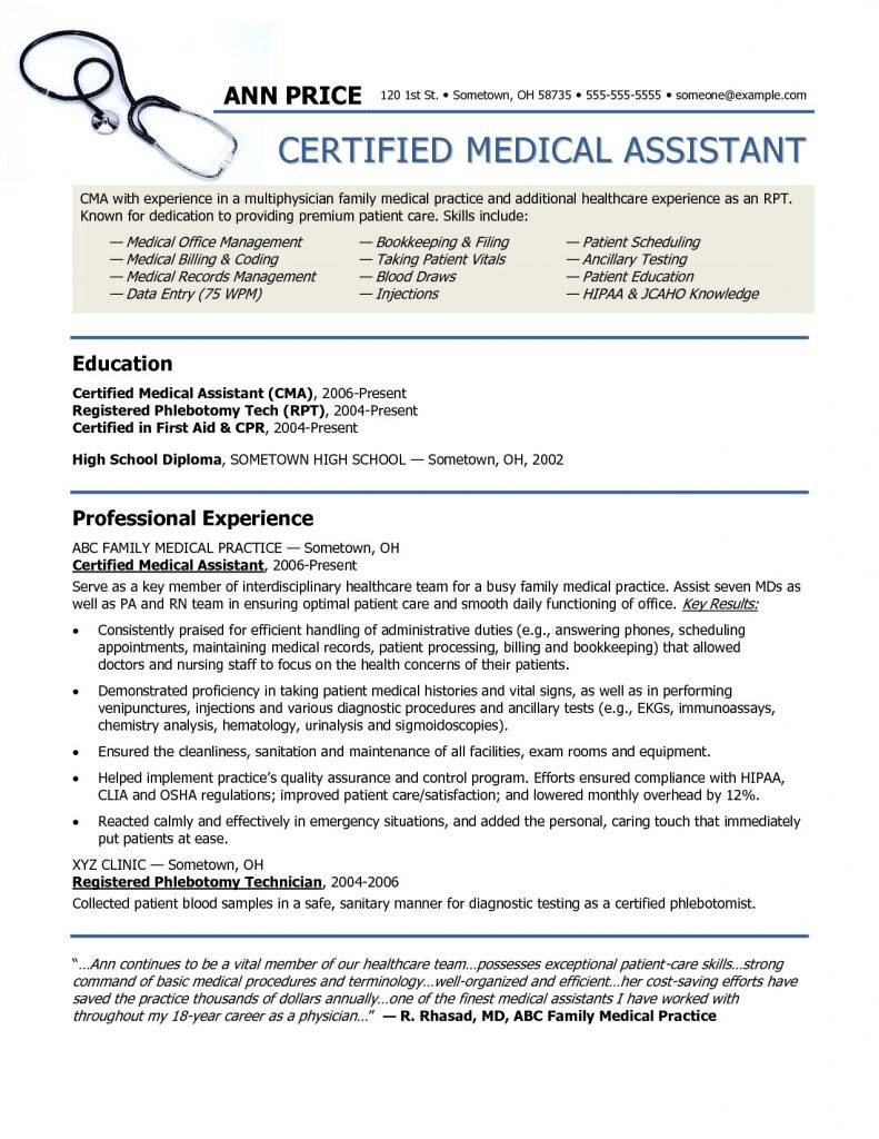 Resume Templates For Medical Office Assistant