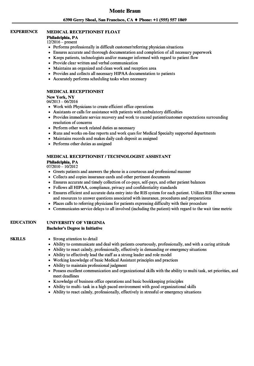 Resume Templates For Medical Office Receptionist