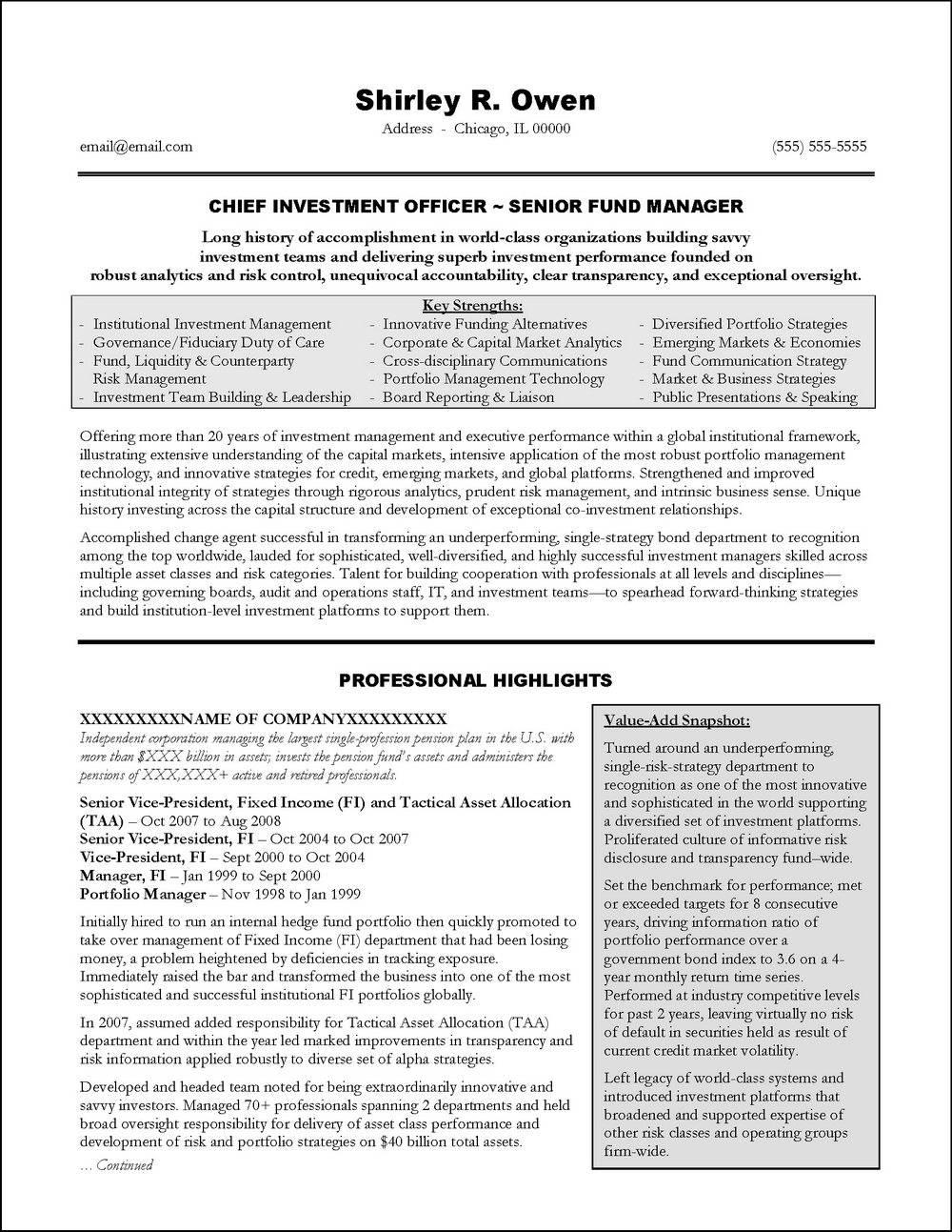 Resume Templates For Senior Executives
